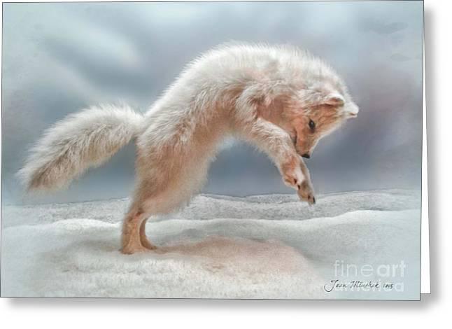 Artic White Wolf Greeting Card by Joan  Minchak