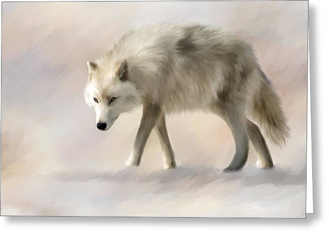 Arctic Wolf Greeting Card by Johanne Dauphinais