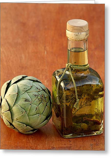 Artichoke And Olive Oil Greeting Card by Art Block Collections