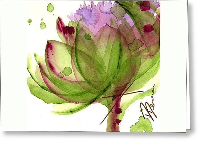 Artichoke Flower Greeting Card by Dawn Derman