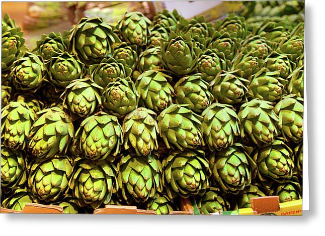 Artichokes At Farm Stand, Route 34 Greeting Card by Panoramic Images