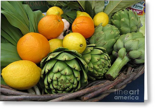 Artichokes Lemons And Oranges Greeting Card