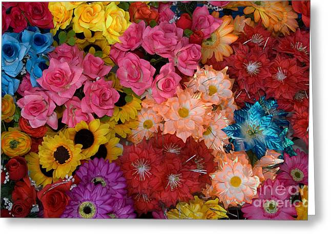 Artificial Flowers At An Acapulco Market Greeting Card by Ron Sanford