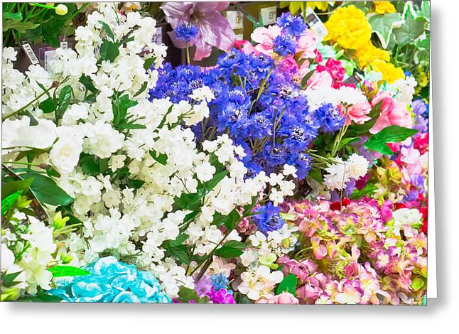 Artificial Flowers Greeting Card