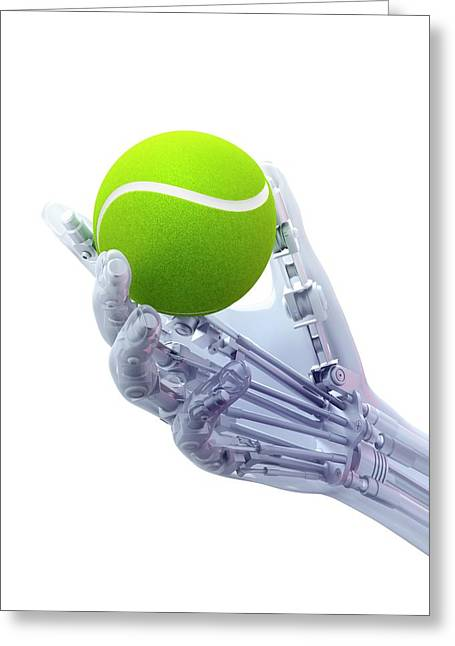 Artificial Hand Holding A Tennis Ball Greeting Card by Andrzej Wojcicki