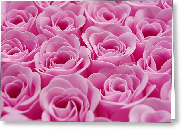 Artificial Pink Roses Greeting Card