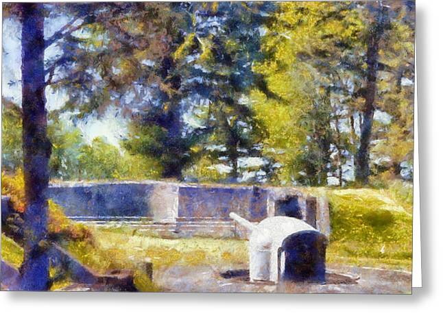 Artillery At Fort Columbia Greeting Card by Kaylee Mason