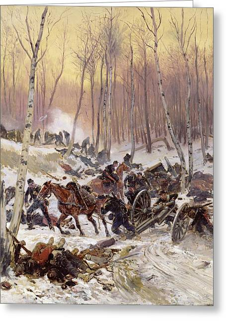Artillery Combat In A Wood During The Siege Of Paris, 1870-71 Oil On Canvas Greeting Card