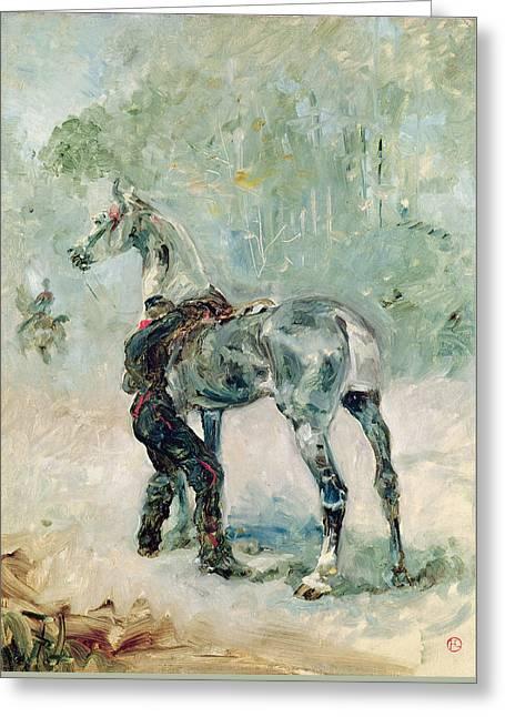Artilleryman Saddling His Horse, 1879  Greeting Card by Henri de Toulouse-Lautrec