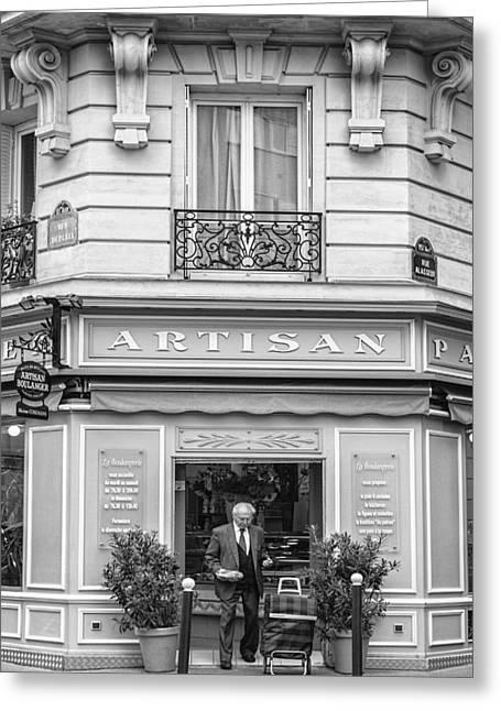 Artisan Bakery In Paris Greeting Card by Georgia Fowler