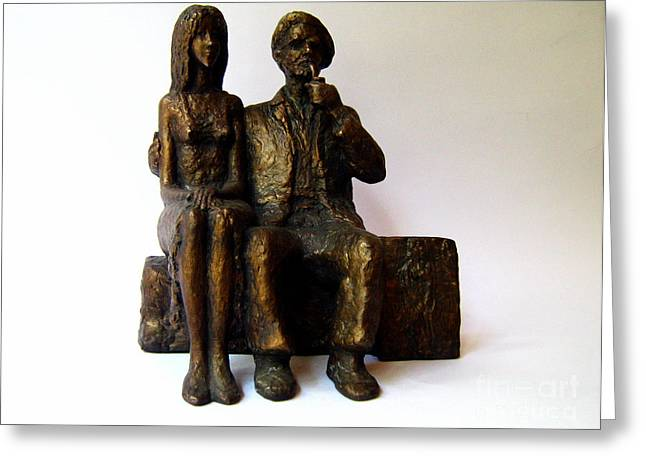 Model Sculptures Greeting Cards - Artist and his Model Greeting Card by Nikola Litchkov