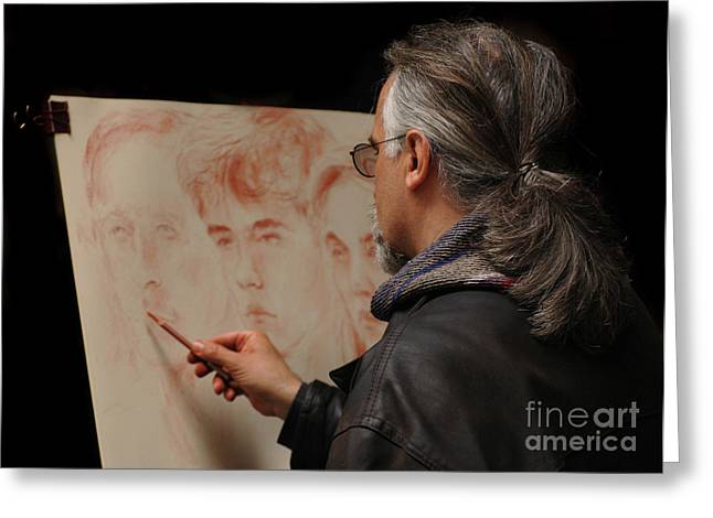 Artist At Work Florence Italy Greeting Card by Bob Christopher