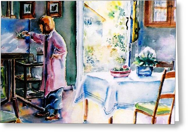 Artist At Work In Summer  Greeting Card by Trudi Doyle