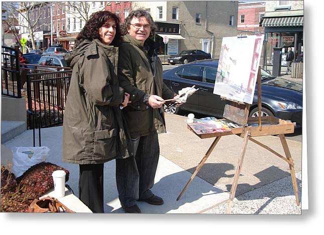 Artist At Work Main St Nyack Ny Greeting Card