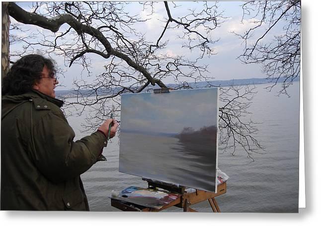 Artist At Work Nyack Park Ny Greeting Card