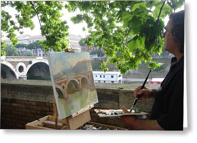 Artist At Work Rome Greeting Card