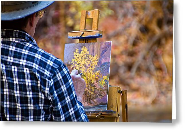 Artist At Work - Zion Greeting Card by Jon Berghoff