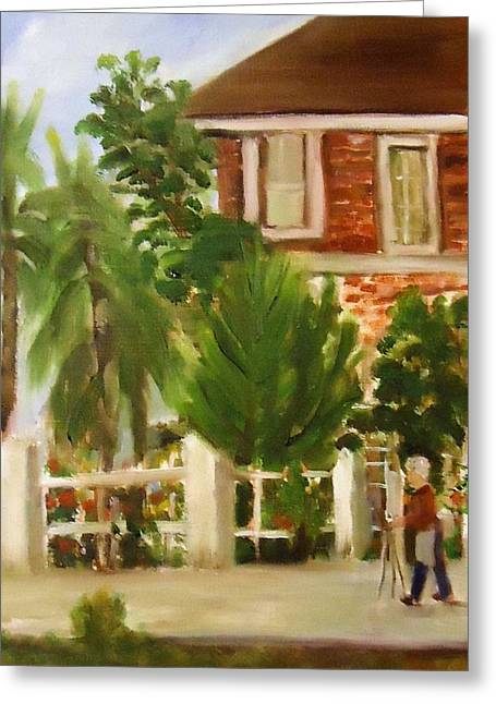 Artist In Galveston Greeting Card by Betty Pimm