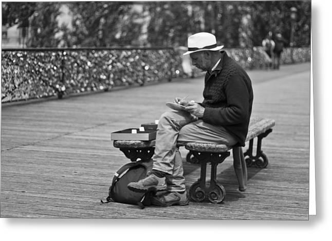Artist On The Bridge - Paris People Series Greeting Card by Georgia Fowler