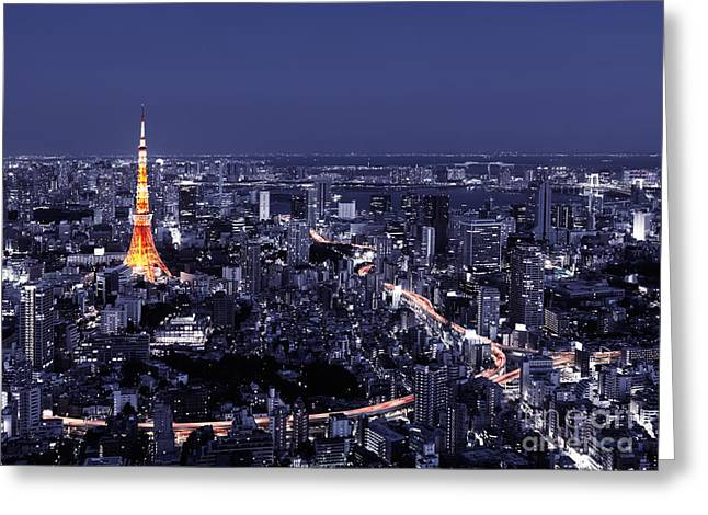 Artistic Aerial Scenery Of Tokyo Tower And Cityscape At Night Greeting Card by Oleksiy Maksymenko