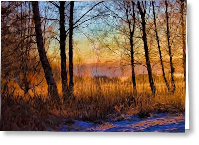 Artistic January Light 2015 A Weak Sun Lightening The Winter Landscape. Greeting Card