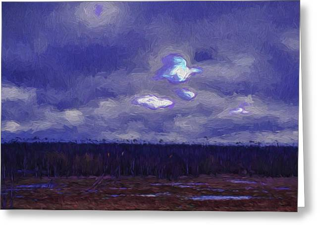 Artistic Paintiry Something In The Sky Landscape With A Coverd Sky An Early Morning Greeting Card by Leif Sohlman