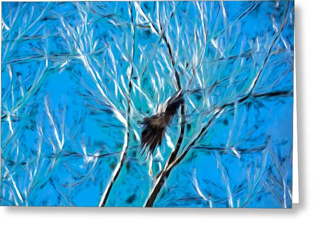 Artistic Panterly Artistic Landing Crow In Tree Greeting Card by Leif Sohlman