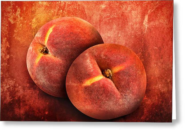 Artistic Peach Fruit On Orange Texture Greeting Card by Angela Waye