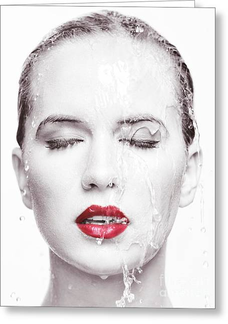 Artistic Portrait Of Woman With Water Running Over Her Face Greeting Card by Oleksiy Maksymenko