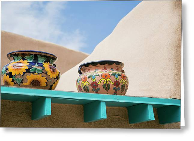 Artistic Pottery Decor, Taos, New Greeting Card by Julien Mcroberts