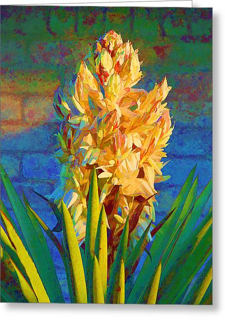 Artistic Yellow Yucca Greeting Card by Linda Phelps