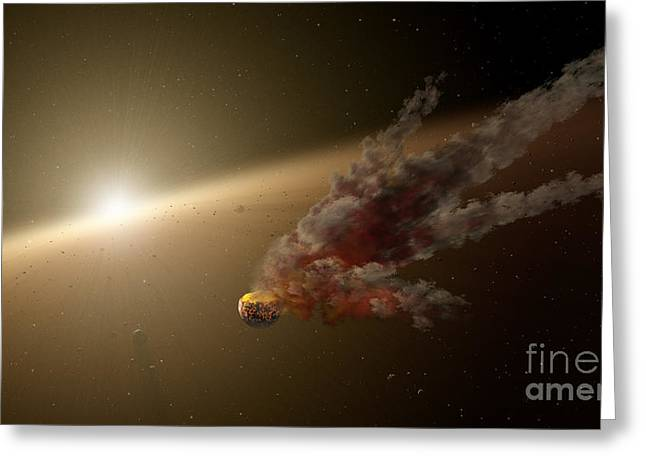 Artists Concept Of A Large Collision Greeting Card by Stocktrek Images