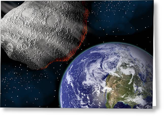 Artists Depiction Of A Large Asteroid Greeting Card by Marc Ward