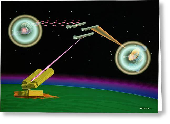 Artist's Impression Of Sdi Lasers In Use Greeting Card