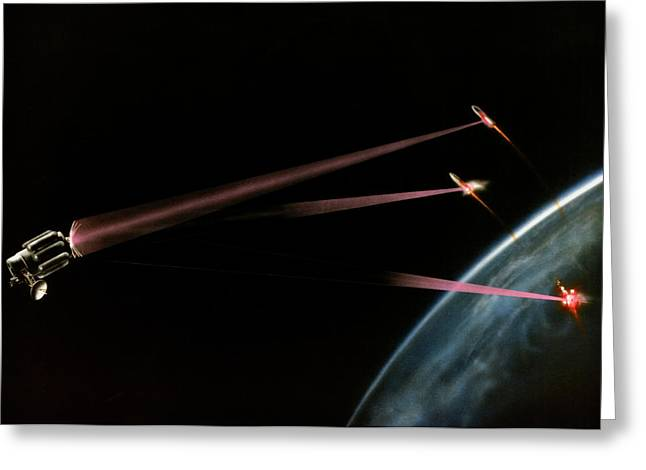 Artist's Impression Of Space-based Sdi Laser Greeting Card by Us Department Of Energy / Science Photo Library