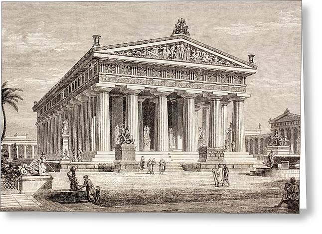 Artists Impression Of The Temple Of Poseidon, Paestum Greeting Card by European School