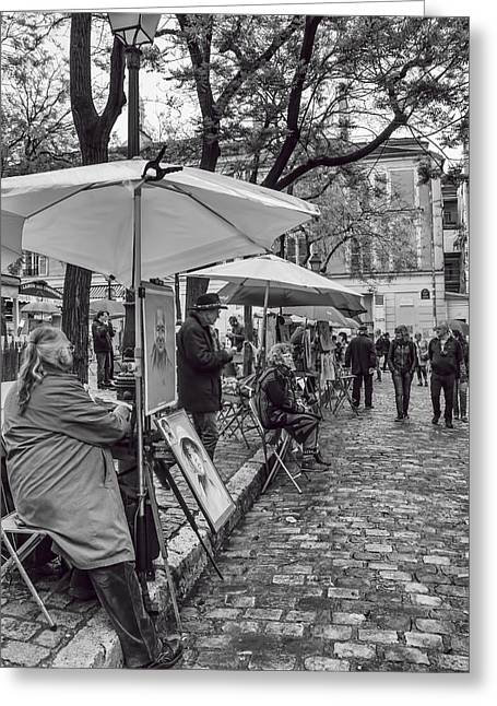 Artists In Montmartre Greeting Card by Georgia Fowler