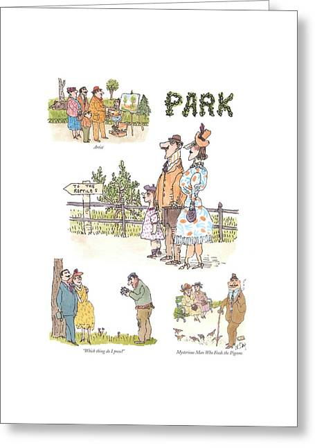 Artist  Which Thing Do I Press?   Mysterious Man Greeting Card by William Steig