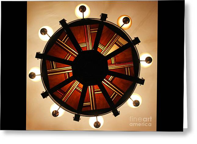 Arts And Crafts Chandelier At Summit Inn Greeting Card