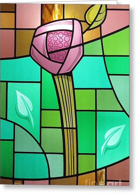 Arts And Crafts Rose Greeting Card by Gilroy Stained Glass