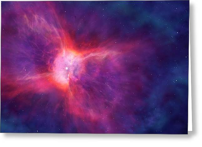 Artwork Of A Bipolar Planetary Nebula Greeting Card by Mark Garlick