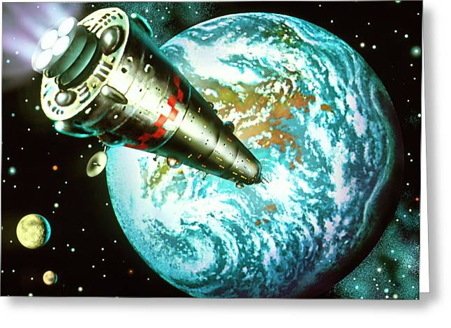 Artwork Of A Spaceship Arriving At A Planet Greeting Card