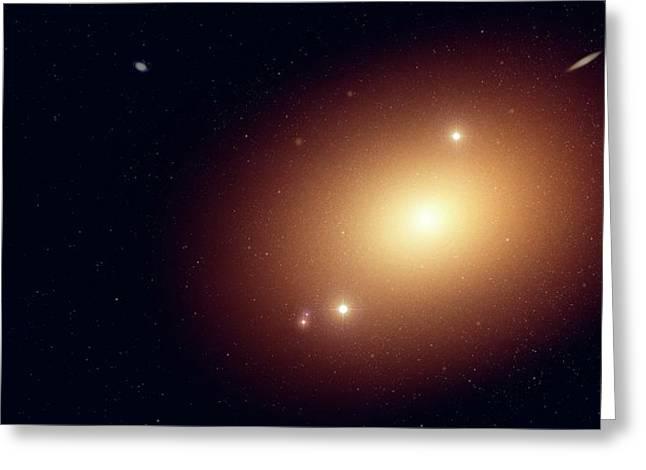 Artwork Of An Elliptical Galaxy Greeting Card by Mark Garlick