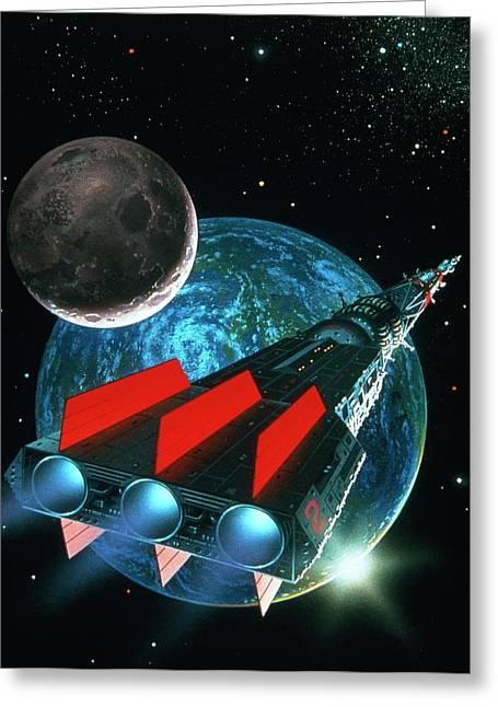 Artwork Of An Ion-drive Starship. Greeting Card