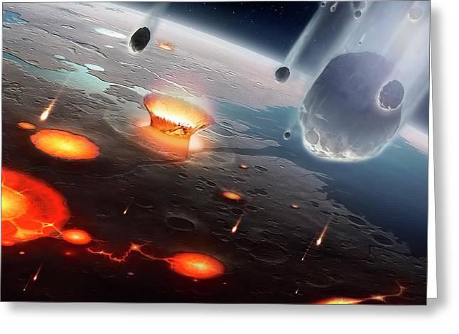 Artwork Of Comets Seeding Earth's Oceans Greeting Card