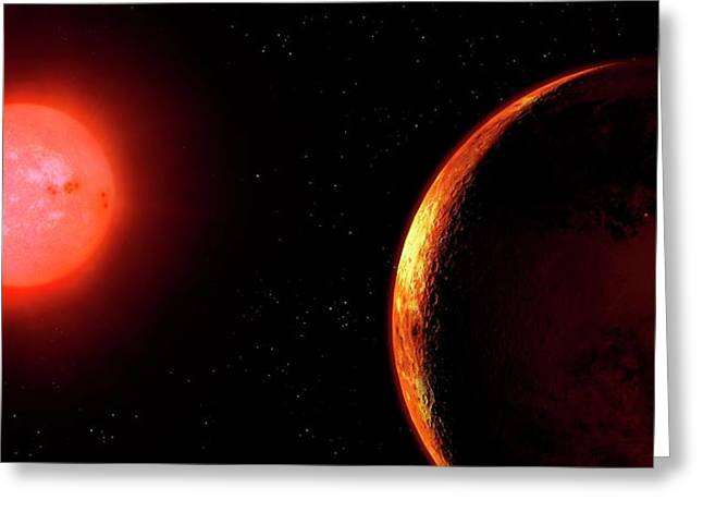 Artwork Of Red Dwarf And Orbiting Planet Greeting Card by Mark Garlick