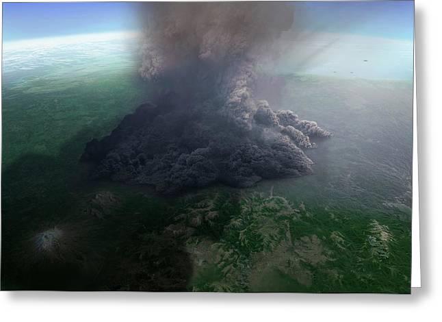 Artwork Of Ultra-plinian Eruption Greeting Card