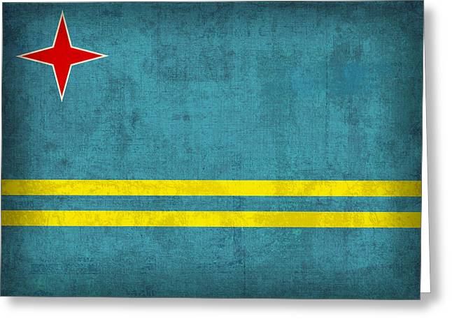 Aruba Flag Vintage Distressed Finish Greeting Card by Design Turnpike