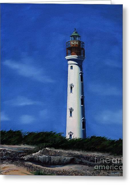 Aruba Light House Greeting Card by Paul Walsh