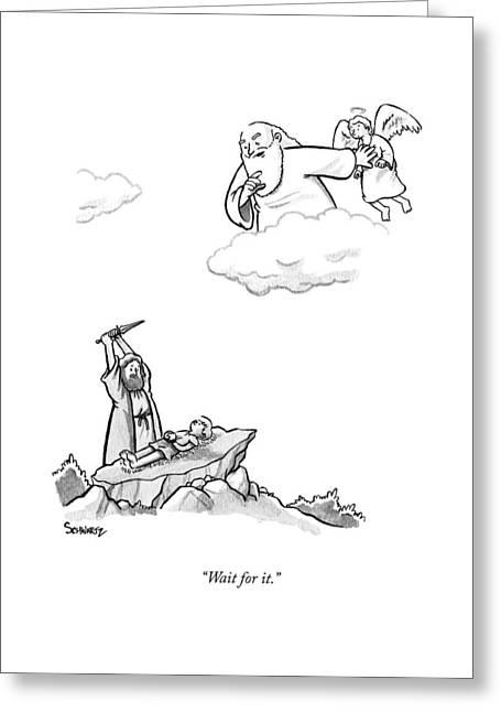 As Abraham Raises The Dagger Over His Son Greeting Card